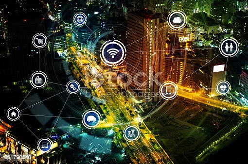 861165648istockphoto smart city and wireless communication network, IoT(Internet of Things), ICT(Information Communication Technology), digital transformation, abstract image visual 691790548