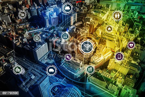 istock smart city and wireless communication network, IoT(Internet of Things), ICT(Information Communication Technology), digital transformation, abstract image visual 691790590
