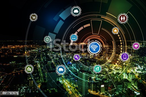 istock smart city and wireless communication network, IoT(Internet of Things), ICT(Information Communication Technology), digital transformation, abstract image visual 691792676