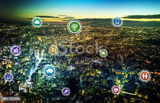 861165648istockphoto smart city and wireless communication network, IoT(Internet of Things), ICT(Information Communication Technology), digital transformation, abstract image visual 691792694