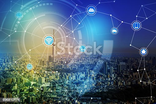 istock smart city and wireless communication network, IoT(Internet of Things), ICT(Information Communication Technology), digital transformation, abstract image visual 696810174