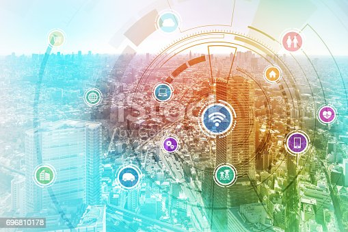 istock smart city and wireless communication network, IoT(Internet of Things), ICT(Information Communication Technology), digital transformation, abstract image visual 696810178
