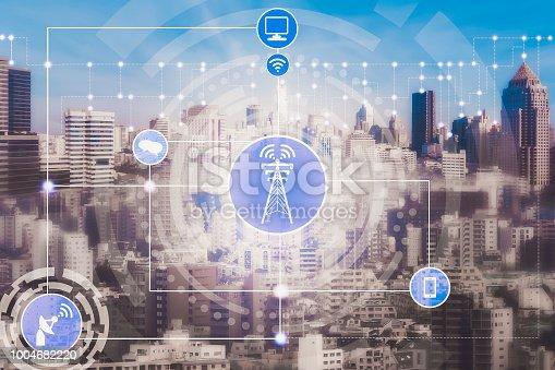 istock Smart city and wireless communication network. 1004682220