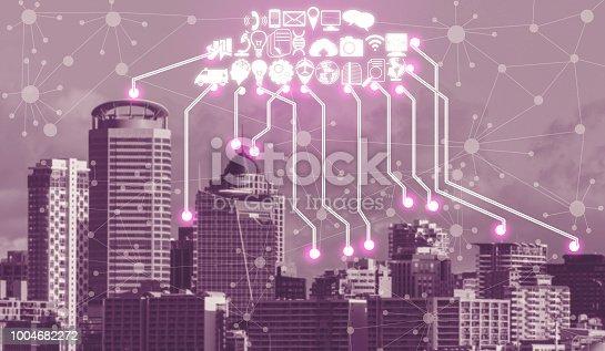istock Smart city and wireless communication network. 1004682272