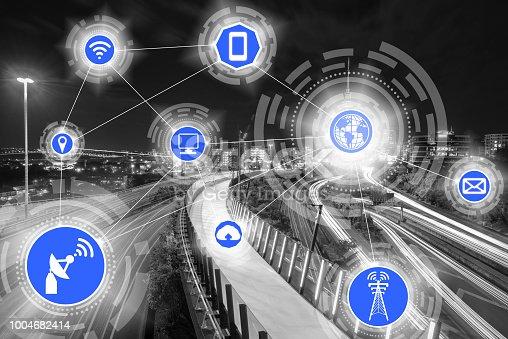 istock Smart city and wireless communication network. 1004682414