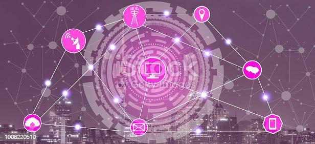 istock Smart city and wireless communication network. 1008220510