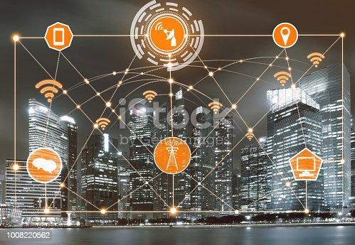 istock Smart city and wireless communication network. 1008220562