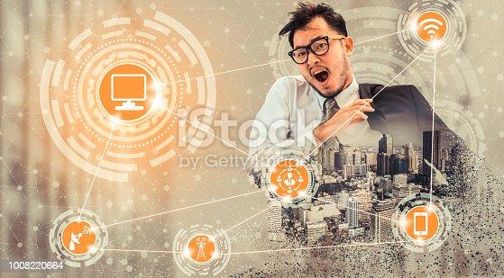 istock Smart city and wireless communication network. 1008220664