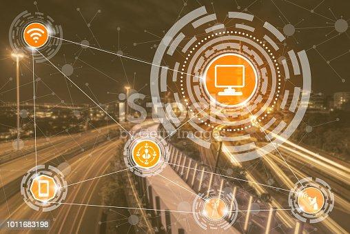 istock Smart city and wireless communication network. 1011683198