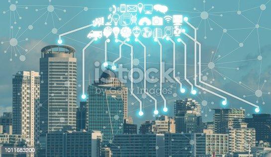 istock Smart city and wireless communication network. 1011683200