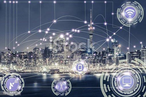istock Smart city and wireless communication network. 1011683210