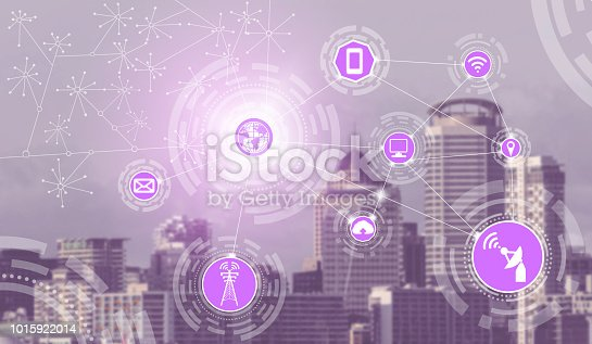 istock Smart city and wireless communication network. 1015922014