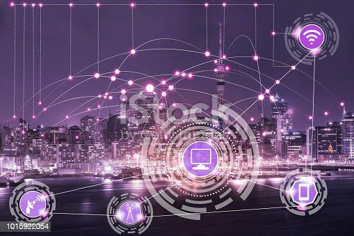 istock Smart city and wireless communication network. 1015922054