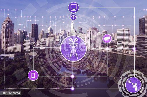 istock Smart city and wireless communication network. 1019729254