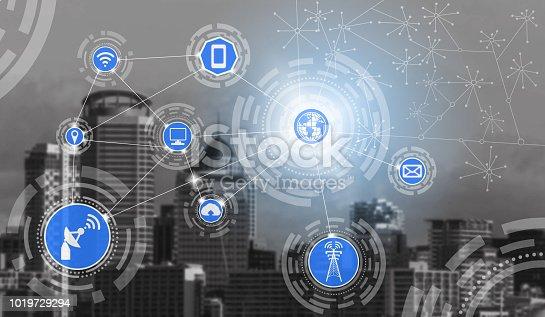 istock Smart city and wireless communication network. 1019729294