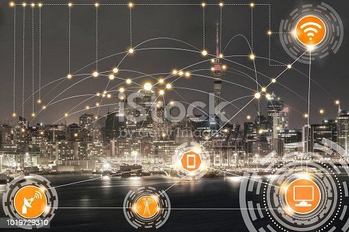 istock Smart city and wireless communication network. 1019729310