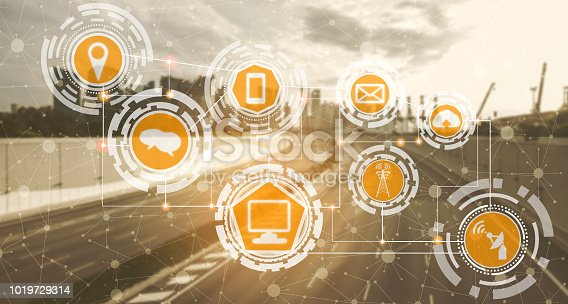 istock Smart city and wireless communication network. 1019729314