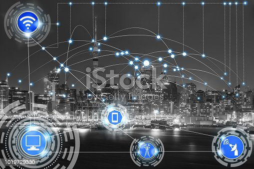 istock Smart city and wireless communication network. 1019729330
