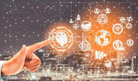 istock Smart city and wireless communication network. 1019729364