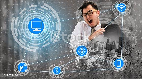 istock Smart city and wireless communication network. 1019729486