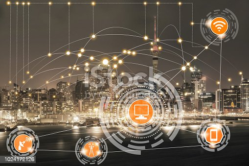 istock Smart city and wireless communication network. 1024172126
