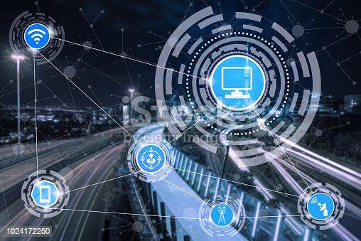istock Smart city and wireless communication network. 1024172250