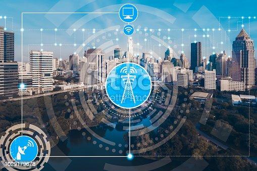 istock Smart city and wireless communication network. 1029179678