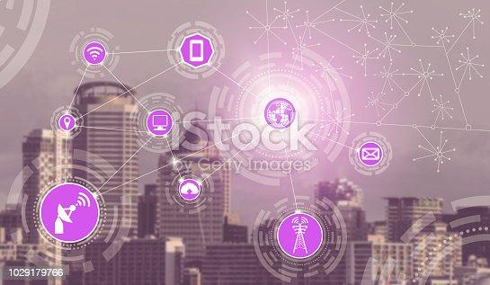 istock Smart city and wireless communication network. 1029179766