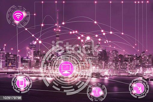 istock Smart city and wireless communication network. 1029179798