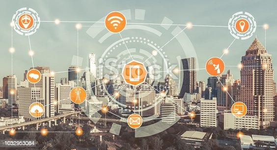 istock Smart city and wireless communication network. 1032953084