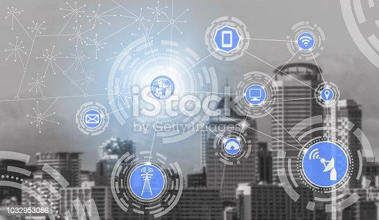 istock Smart city and wireless communication network. 1032953086