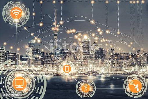 istock Smart city and wireless communication network. 1032953540