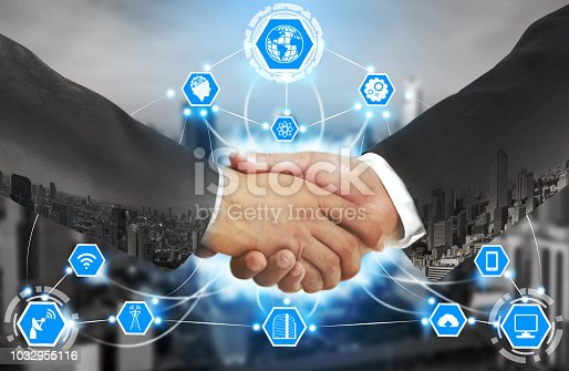 istock Smart city and wireless communication network. 1032955116