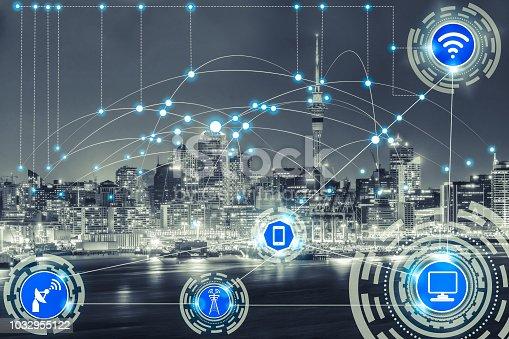 istock Smart city and wireless communication network. 1032955122