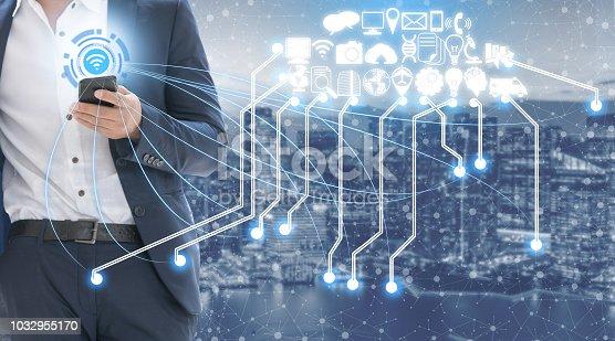 istock Smart city and wireless communication network. 1032955170