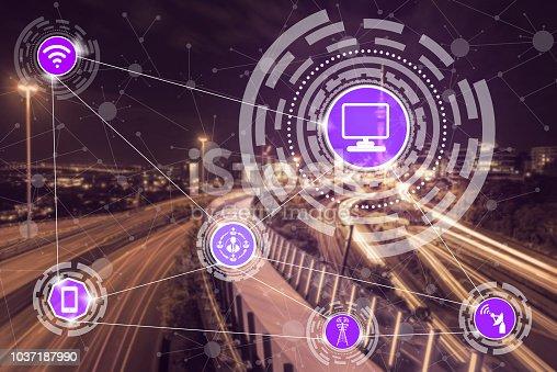 istock Smart city and wireless communication network. 1037187990