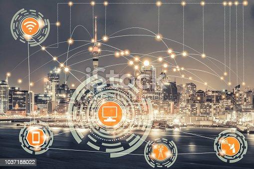 istock Smart city and wireless communication network. 1037188022