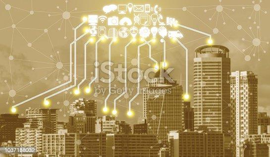 istock Smart city and wireless communication network. 1037188032