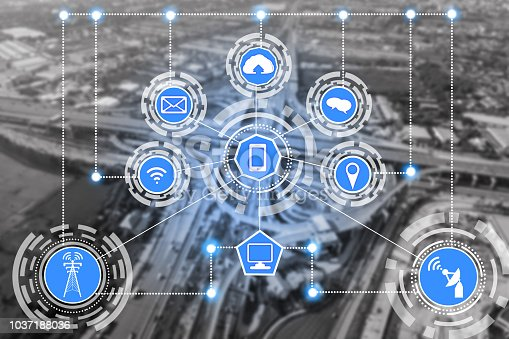 istock Smart city and wireless communication network. 1037188036