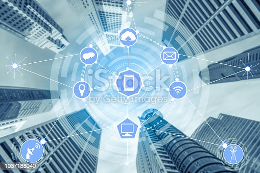 istock Smart city and wireless communication network. 1037188040