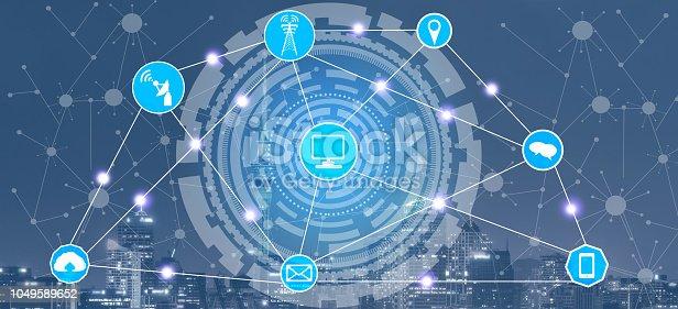 istock Smart city and wireless communication network. 1049589652