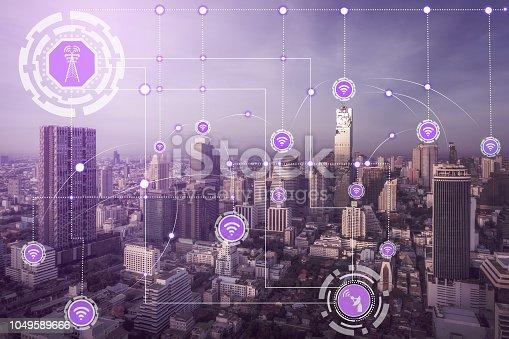 istock Smart city and wireless communication network. 1049589666