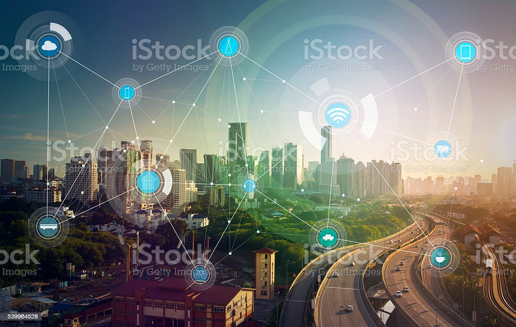 smart city and wireless communication network - Royalty-free Abstract Stock Photo