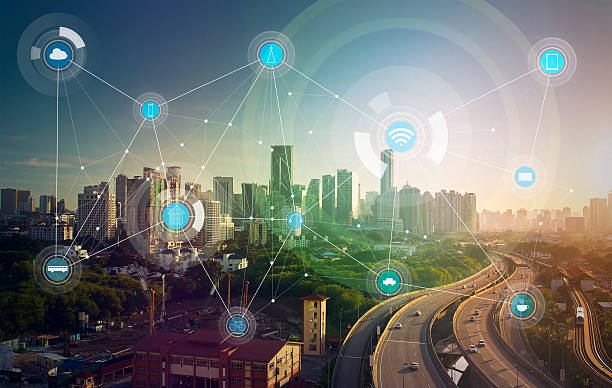 inteligente de la ciudad y a la red de comunicación inalámbrica - internet de las cosas fotografías e imágenes de stock