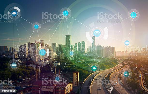 Smart City And Wireless Communication Network Stock Photo - Download Image Now