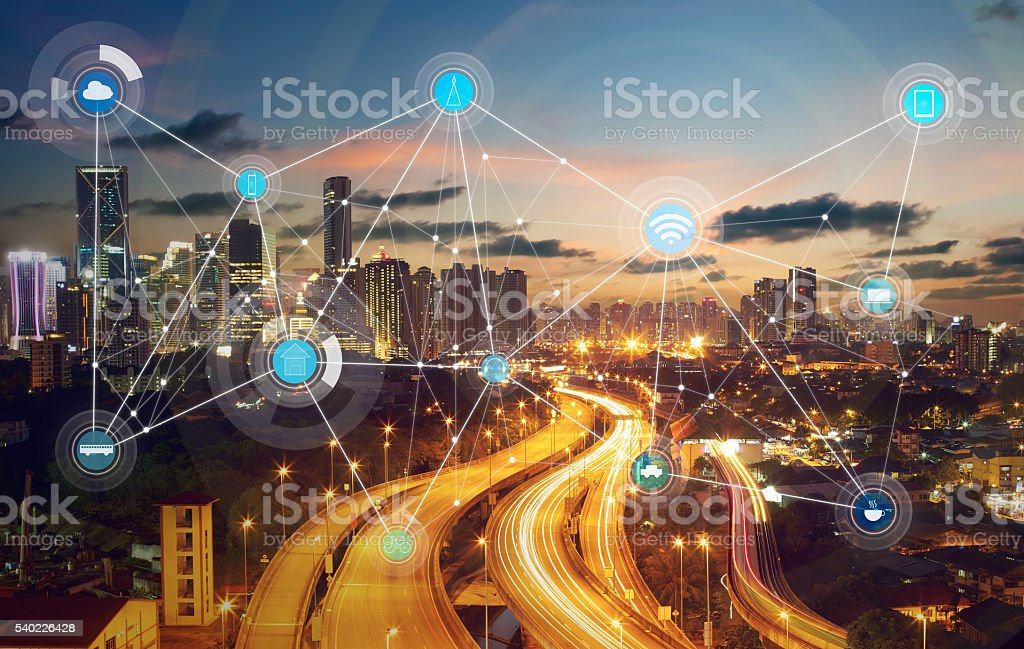 smart city and wireless communication network bildbanksfoto