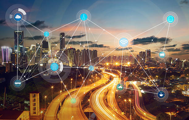 inteligente de la ciudad y a la red de comunicación inalámbrica - foto de stock