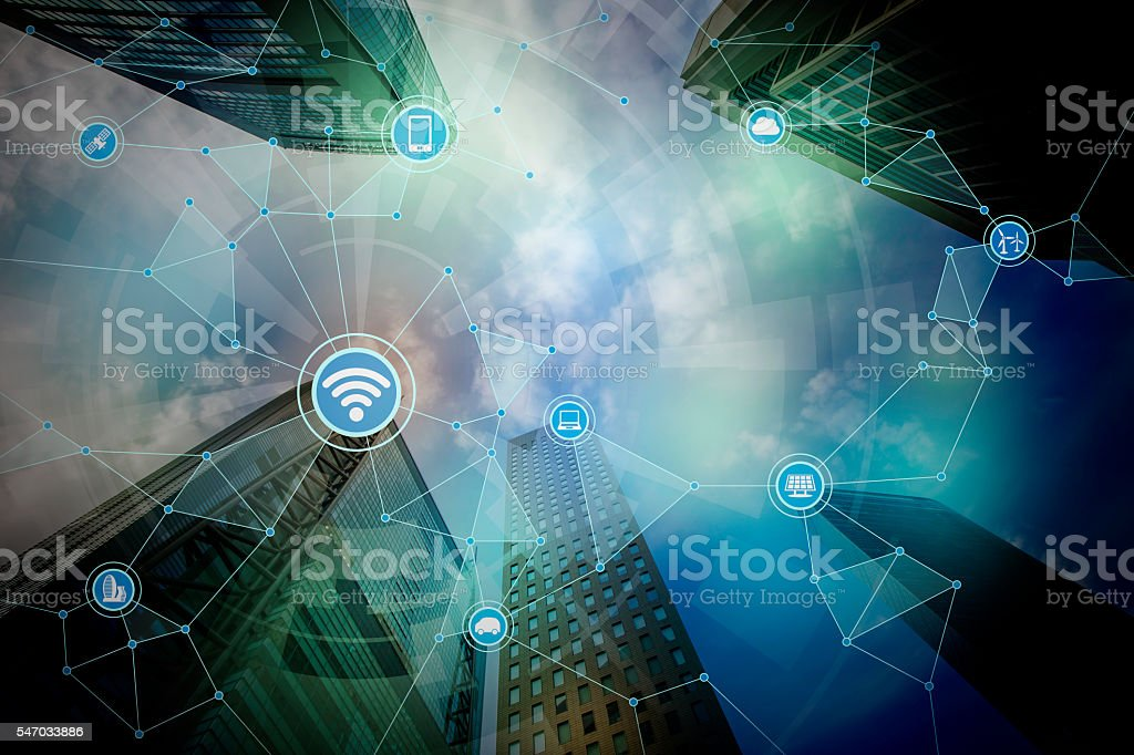 smart city and wireless communication network bildbanksfoto