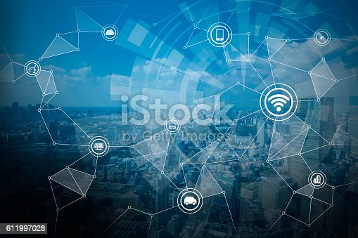 istock smart city and wireless communication network 611997028