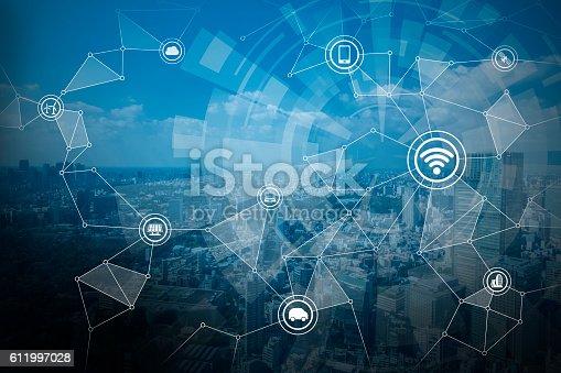 611997072 istock photo smart city and wireless communication network 611997028